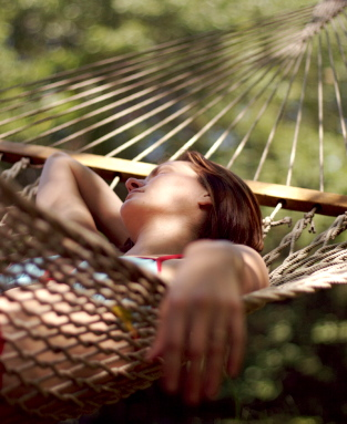 GIrl in hammock resting relaxation