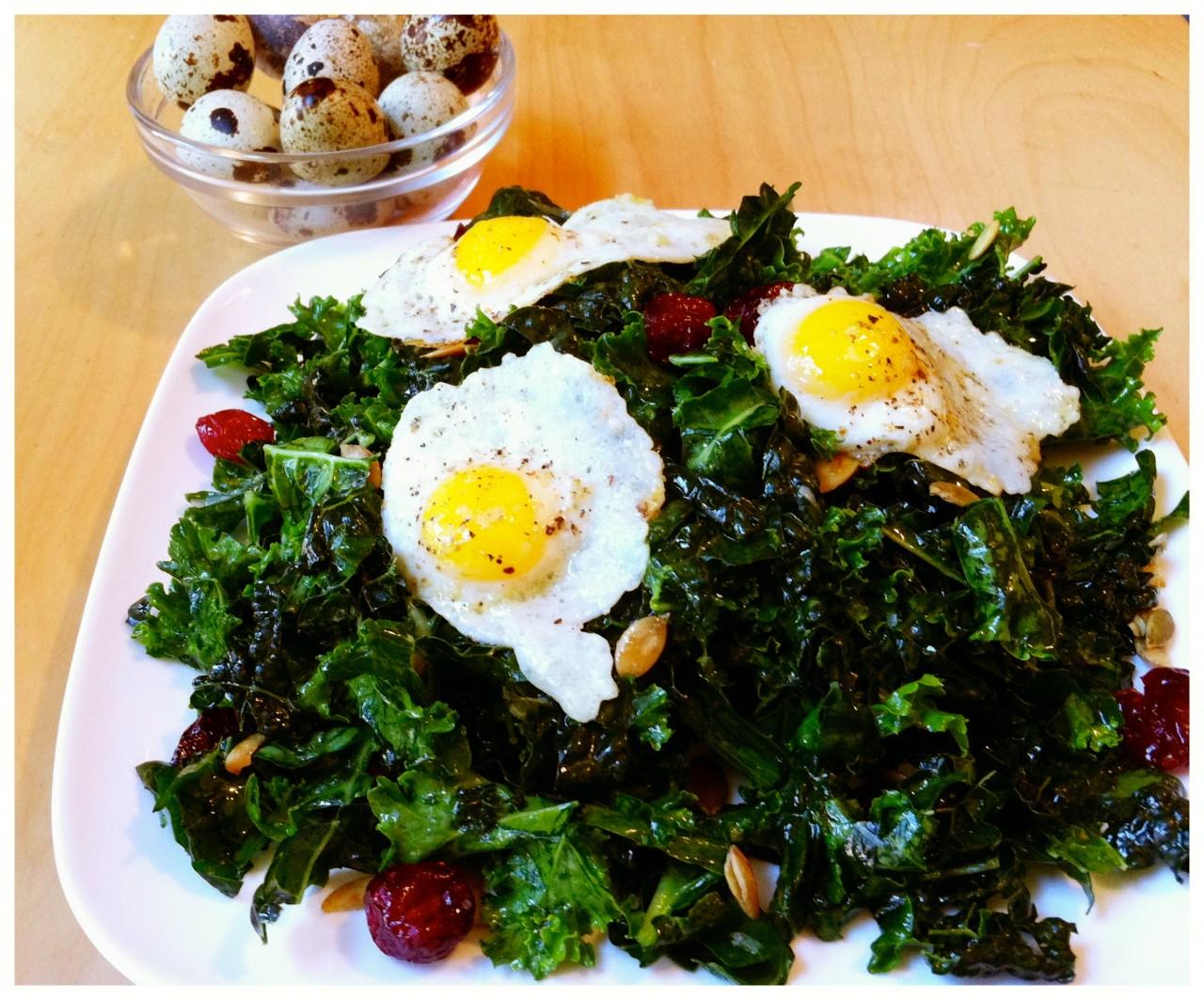 kale salad with quail eggs