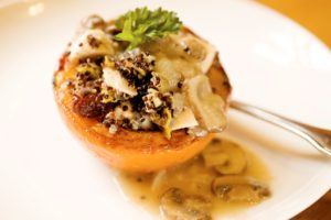 Stuffed squash with Mushroom gravy
