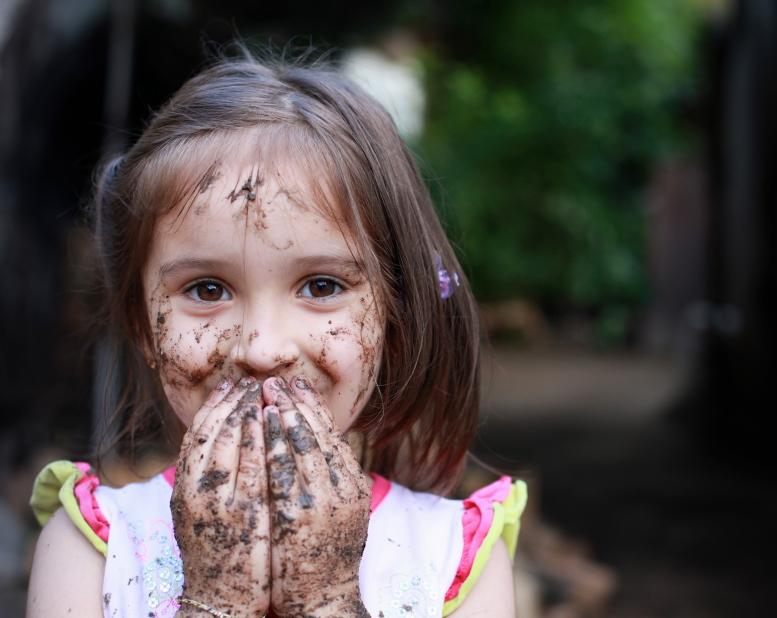 Dirty muddy girl children