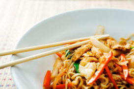 Chicken with udon noodles