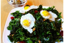 kale salad with quail eggs