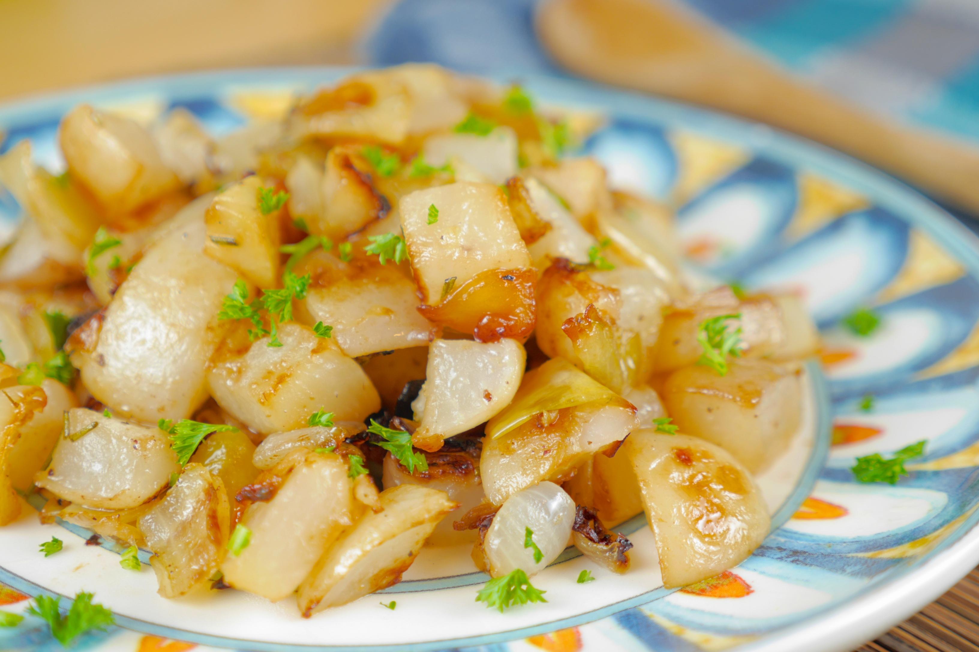 roasted turnipsa and onions