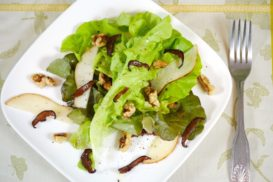 Fall Pear, Lettuce and Shitake Bacon Salad