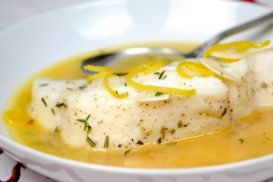 Poached Halibut with Aromatic Herbs and Mirin