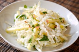 Cabbage and Apple Salad with Honey Ginger Dressing