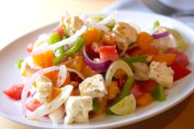 Summer Vegetable Salad with Feta Cheese